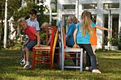 Children playing Musical Chairs, children's birthday party