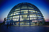 Glass dome, Reichstag building in the evening, Berlin, Germany