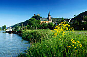 Schonburg Castle and Church of Our Lady, Oberwesel, River Rhine, Rhineland-Palatinate, Germany