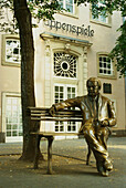 Willi-Millowitsch monument in front of Hanneschen Theatre, Old Town, Cologne, North Rhine-Wetsphalia, Germany