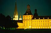 Illuminated Kurfürstliches Schloss of Bonn (university) at night, Bonn, North Rhine-Westphalia, Germany