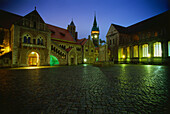 View over castle square with Braunschweig lion to castle Dankwarderode, Braunschweig, Lower Saxony, Germany
