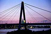 Severin Bridge and Cologne Cathedral in sunset, Cologne, North Rhine-Westphalia, Germany