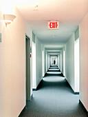 Empty hotel corridor, Ottawa, Ontario, Canada