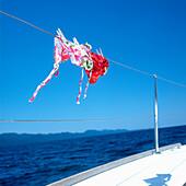 Bikinis on a rope of a sailboat, Adriatic Sea, Dalmatia, Croatia