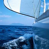 Sailboat cutting through water, Adriatic Sea, Dalmatia, Croatia