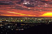 Adelaide City Lights at Sunset, Adelaide, South Australia, Australia