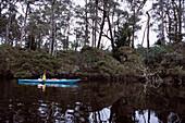 Kayaking on Ansons River, Bay of Fires Walk, Tasmania, Australia