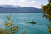 rowing boat on lake Walchensee, Upper Bavaria, Germany
