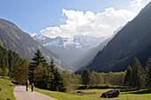 Hikers, Stilluppgrund valley, Zillertal mountains, Alps, Austria