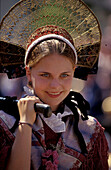 Girl in traditional costume at Radolfzell, Lake Constance, Baden Wurttemberg, Germany