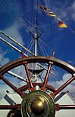 Close up of a sailing ship, Gorch Fock I, at Stralsund harbour, Mecklenburg-Pomerania, Germany, Europe