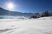 Winter scenery in front of Gosaukamm, Salzkammergut, Upper Austria, Austria