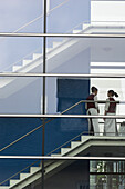 View through a glass facade, School for Tourism, Klessheim, Salzburg, Austria
