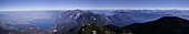 Panoramic view from Herzogstand summit over lake Kochelsee and Walchensee, Bavaria, Germany