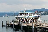 Tourists boarding a excursion boat, Lage Zurich, Zurich, Canton Zurich, Switzerland