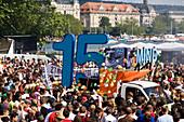 Lots of ravers dancing around a truck near Quai Bridge, Street Parade (the most attended technoparade in Europe), Zurich, Canton Zurich, Switzerland