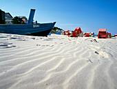 Hooded beach chair on the beach of Bansin, Usedom Island, Schleswig Holstein, Germany