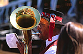 Brass band with folk music, Sandkerwa, Bamberg, Franconian Switzerland, Franconia, Bavaria, Germany