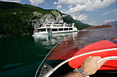 A motor boat and an excursion boat near St. Gilgen, Lake Wolfgangsee, Salzburg, Austria