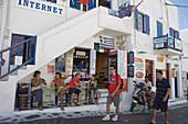 Backpackers and Internet Cafe, Mykonos, Cyclades Islands, Greece