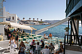 Outdoor Cafes in Little Venice and Mykonos Windmills, Mykonos, Cyclades Islands, Greece