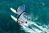 Aerial shot of two windsurfers, Windsurfing, Sport
