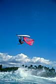 Windsurfer performing a jump, Windsurfing, Sport