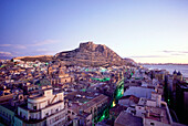 View of Alicante in the evening light, Valencia, Spain, Europe