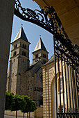 View through a gate at the Willibrordus Cathedral, Echternach, Luxemburg, Europe