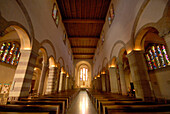 Interior view of the deserted Willibrordus Cathedral, Echternach, Luxemburg, Europe
