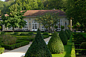 Deserted spa gardens at Mondorf les Bains, Luxembourg, Europe