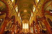 Interior view of parish church St. Martin, Dudelange, Luxembourg, Europe