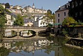 Picturesque stone bridge at the river Alzette, Grund district, Luxembourg city, Luxembourg, Europe