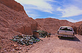 Glass for recycling and junk car, Coober Pedy, the opal capital of the world, Crocodile Harry, South Australia, Australia