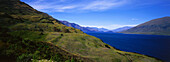 Panorama of Lake Wakatipu and surrounding landscape, Queenstown, South Island, New Zealand