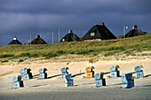 Beach chairs at sandy beach, Sylt Island, Schleswig-Holstein, Germany