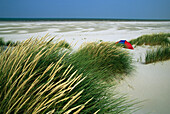 Tent between dunes, Juist island, East Frisian Islands, Lower Saxony, Germany