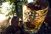 Paulaner Beergarden, Nockerberg, Munich, Bavaria, Germany, Beer, People, Sun, Mass, drink, Travel