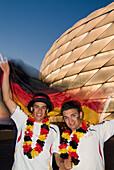 German fans cheering, Allianz Arena, soccer stadium, Munich, Bavaria, Germany