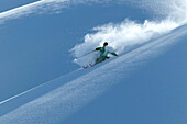 Man, Skiing, Powderturn, Downhill,Engadin, Switzerland