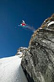 Skier jumping, Falkertsee, Carinthia, Austria