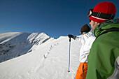 Skier on snowy mountain, Falkertsee, Carinthia, Austria