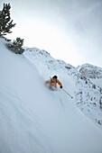 Skier, Valley, Ross Hut, Tyrol, Austria