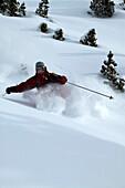 Man, Skiing, Powderturn, Downhill, Ross hut, Tyrol, Austria