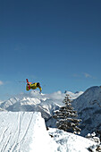 Man, Jump, Kicker, Snowy Mountains, Warth, Arlberg, Tyrol, Austria