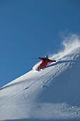 Mann, Skifahren, Schwung im Tiefschnee, Abfahrt, Warth, Arlberg, Tirol, Österreich