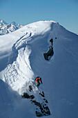 Man, Skiing, Cliffdropp, Downhill, St Luc, Chandolin, Valais, Switzerland