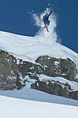 Skier jumping, Zurs, Lech, Vorarlberg, Austria