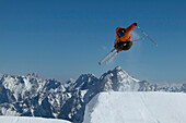 Skier jumping, mount Zugspitze, Bavaria, Germany
